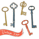 Beautiful hand drawn vintage keys collection  Royalty Free Stock Photos