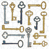 Beautiful hand drawn vintage keys collection Stock Image