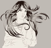 Beautiful hand drawn woman fashion illustration. Beautiful woman with long flowing hair hand drawn fashion illustration Stock Photos