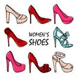 Beautiful hand drawn women's high heel shoes. Fashionable women's shoes. Stock Photos