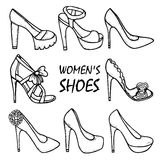 Beautiful hand drawn women's high heel shoes, sandals. Fashionable women's shoes. Stock Photos