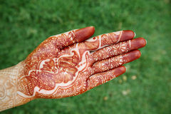 Beautiful hand with henna design Stock Photo