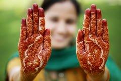Beautiful hand with henna design Stock Photo