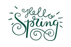 Hello spring hand lettering Royalty Free Stock Images