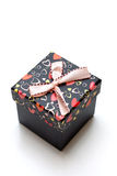 Beautiful hand-madblack gift box with hearts shape Royalty Free Stock Images