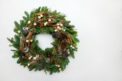 Beautiful hand made Christmas wreath isolated on white backgroun stock images
