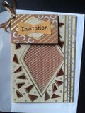 Beautiful hand made invitation card. Artistic ideas for making cards Stock Photography