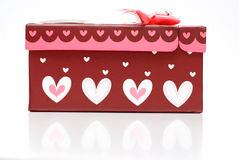 Beautiful hand-made red gift box Royalty Free Stock Images