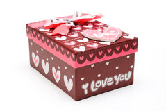 Beautiful hand-made red gift box Stock Images