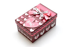 Beautiful hand-made red gift box Royalty Free Stock Photo