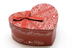 Beautiful hand-made red heart gift box Royalty Free Stock Photo