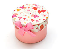 Beautiful hand-mapink gift box in white background Royalty Free Stock Photography