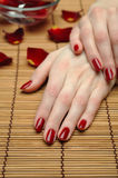 Beautiful hand with nail red manicure Stock Image