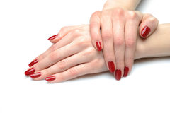 Beautiful hand with nail red manicure Royalty Free Stock Images