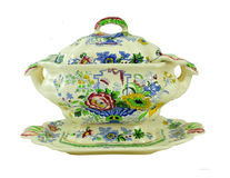 Beautiful hand painted tureen Stock Photos