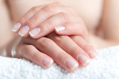 Beautiful hand with perfect nail french manicure. Beautiful womans hand with perfect nail french manicure Stock Photography