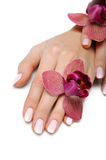 Beautiful hand with perfect nail pink manicure Royalty Free Stock Photos