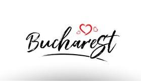 Bucharest europe european city name love heart tourism logo icon Stock Image