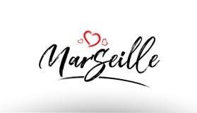Marseille europe european city name love heart tourism logo icon. Beautiful hand written text typography design of europe european city marseille name logo with Stock Photography