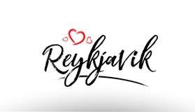Reykjavik europe european city name love heart tourism logo icon. Beautiful hand written text typography design of europe european city reykjavik name logo with Stock Photo