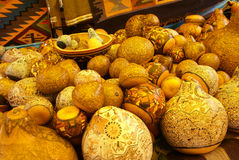Beautiful handcarved gourds. Pisac market,  Cusco, Peru, South America Stock Photos