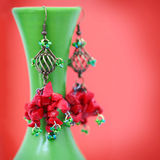 Beautiful handcrafted earrings Stock Image