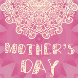 Beautiful Handlettering Background With Hand Drawn LAce For Mothers Day Stock Images