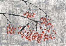 Branch with red berries. Winter tree abstraction. vector illustration
