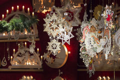 Beautiful handmade christmas decoration in a shop Stock Photos