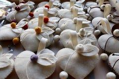 Handmade cloth hearts Royalty Free Stock Image
