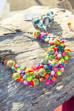 Beautiful handmade colorful necklace and bracelet Royalty Free Stock Images