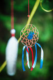 Beautiful handmade dreamcatcher. In the forest outdoor Royalty Free Stock Photo