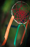 Beautiful handmade dreamcatcher. In the forest outdoor Stock Photos