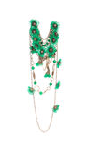 Beautiful handmade green necklace. Royalty Free Stock Photography