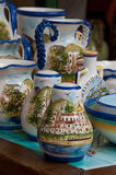 Beautiful handmade painted ceramics in the town of Positano on t Royalty Free Stock Images