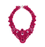 Beautiful handmade pink necklace. Royalty Free Stock Photo