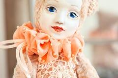 Beautiful Handmade red color vintage art teddy doll. Bear-girl. stock image
