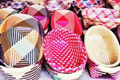 Beautiful handmade traditional Thai style basketwork. Colorful handmade traditional Thai style basketwork Royalty Free Stock Image