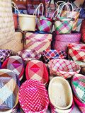 Beautiful handmade traditional Thai style basketwork. Royalty Free Stock Images