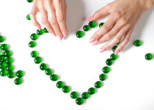 Beautiful hands building a heart sighn Royalty Free Stock Photo