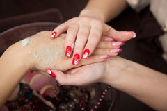 Beautiful hands close-up - spa prodedure. This image has attached release Stock Image
