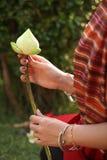 Beautiful hands holding lotus. Beautiful hands holding petal folded lotus Royalty Free Stock Images