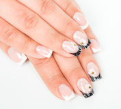 Beautiful hands with manicure on a light background Royalty Free Stock Photo
