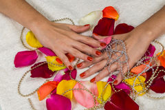 Beautiful hands with a nice manicure Royalty Free Stock Images