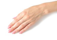 Beautiful hands with perfect nail pink manicure Stock Images