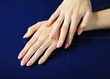 Beautiful hands with perfect nail pink manicure Royalty Free Stock Photography