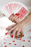 Beautiful hands with perfect red manicure Stock Image