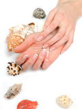 Beautiful hands,spa french manicure,sea shells Royalty Free Stock Image