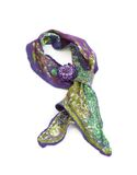 Beautiful handwork scarf with brooch Royalty Free Stock Photo