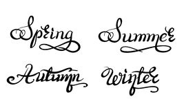 Beautiful handwriting calligraphic title seasons Stock Photo